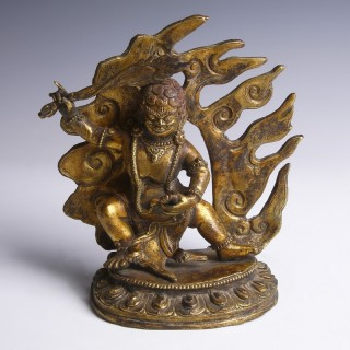 Tibetan Gilt Bronze Figurine of Acala
