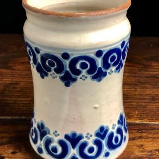 Antique Blue And White Telavera Pot 18th Century