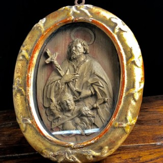 Antique Framed Boxwood Carving Of Saint Rich, 18th Century