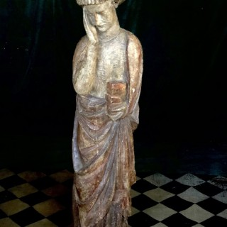 Large Antique Carving Of John The Evangelist, England, 14th Century