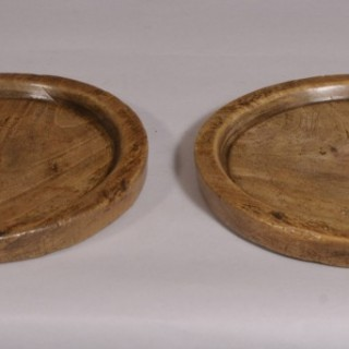 Antique Treen Pair of Early 19th Century Sycamore Platters