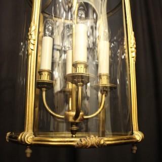 French Gilded Four Light Antique Lantern