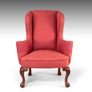 A Very Good Pair of Early 20th Century Mahogany Framed Wing Chairs
