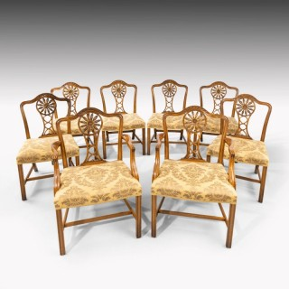 A Most Elegant Set of Eight (6+2) Early Twentieth Century Chippendale Style Mahogany Framed Chairs