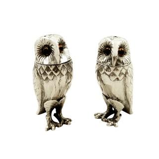 Pair of Vintage Sterling Silver Owl Salt & Pepper Pots 1996