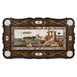 Antique Italian tabletop with pietra dura scene