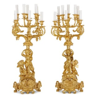 Pair of Louis XVI gilt bronze candelabra