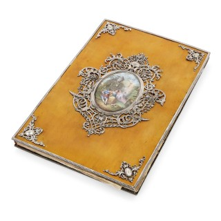 Silver and enamel folder with French Exposition Universelle 1855 inscription