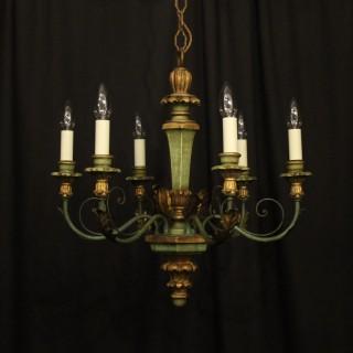 Italian Giltwood & Toleware Antique Chandelier