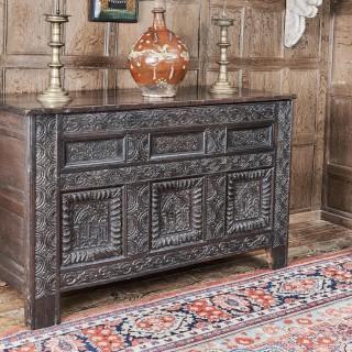 James I oak carved chest