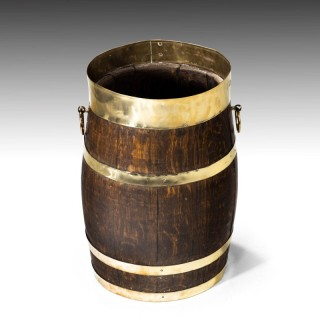 A Mid 19th Century Coopered Oak Barrel