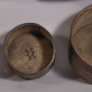 Antique Treen 19th Century Set of Three Oak Measures
