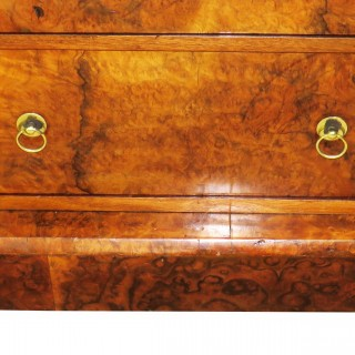 19th Century Burr Walnut Wellington Chest Of Drawers