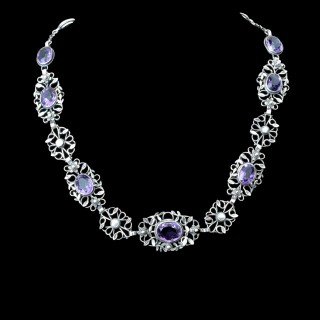 A silver amethyst choker by Arthur and Georgie Gaskin