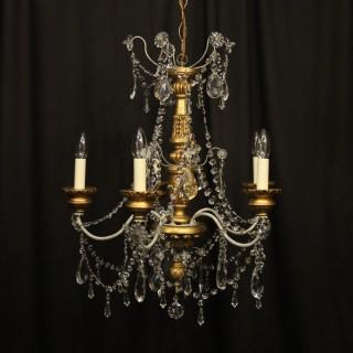 Florentine Giltwood Crystal Antique Chandelier