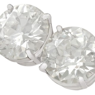 6.02ct Diamond and Platinum Stud Earrings - Antique and Contemporary