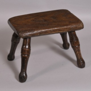 Antique 19th Century Oak Child's Rectangular Stool
