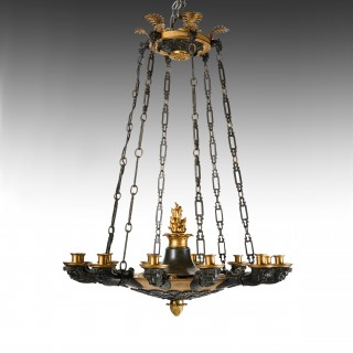 Fine Quality Patinated and Gilt Bronze French Empire 12 Branch Chandelier