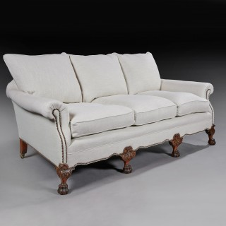 Pair of Antique Deep Seated Feather Down Country House Sofas.