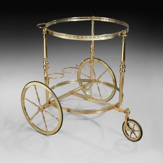 Maison Bagues Mid 20th Century Circular Brass Bar Cart Trolley