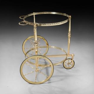 Maison Bagues Mid 20th Century Circular Brass Bar Cart Trolley