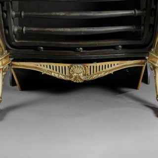 19th Century Brass and Steel Hooded Antique Fireplace Grate, Renaissance Style.