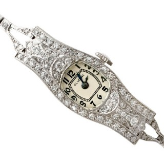 2.36 ct Diamond and Platinum Glycine Cocktail Watch - Art Deco - Antique Circa 1930