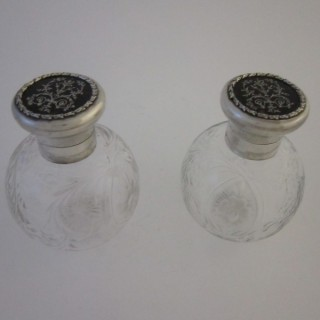 Antique George V Sterling silver and tortoiseshell scent bottles