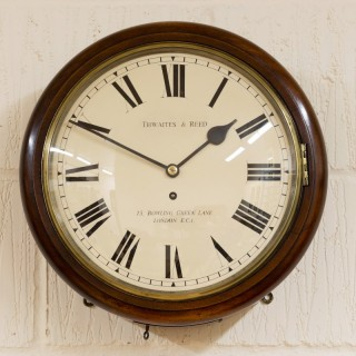 Mahogany English Dial Fusee Wall Clock by Thwaites and Reed, London
