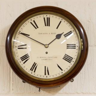Mahogany English Dial Fusee Wall Clock by Thwaites and Reed, London
