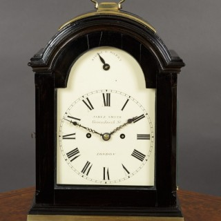 George III Ebonised English Fusee Bracket Clock by Jabez Smith, London c.1790