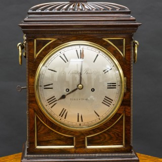 Regency Rosewood English Fusee Bracket Clock by Aquila Barber, Bristol