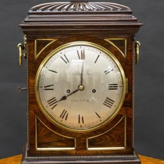 Regency Rosewood English Fusee Bracket Clock by Aquila Barber, Bristol