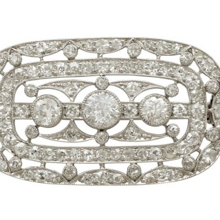 Antique 1920s 1.83ct Diamond and Platinum Brooch by Garrard