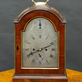 Georgian Mahogany Three Pad English Verge Fusee Bracket Clock by George Turner, Honiton