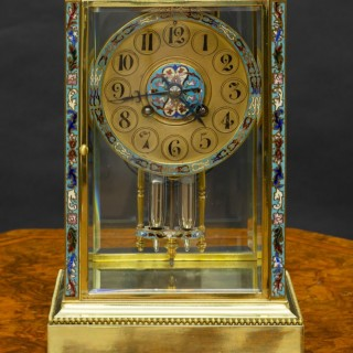 French Champleve Enamel Four Glass mantel Clock