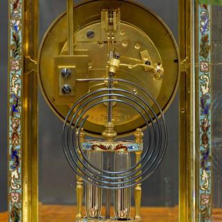 French Champleve Enamel Four Glass mantel Clock