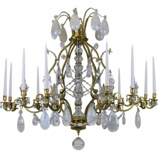 A LARGE LOUIS XIV GILT BRONZE & ROCK CRYSTAL CHANDELIER