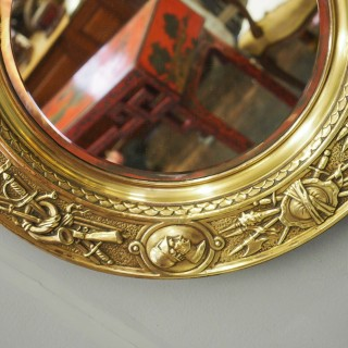 Circular Brass Embossed Wall Mirror