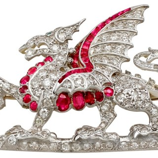 0.52ct Ruby and Emerald, 2.43ct Diamond and 14ct Yellow Gold Dragon Brooch - Antique Circa 1920