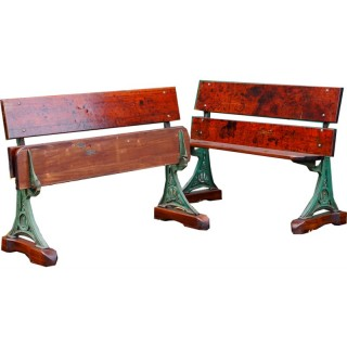 Pair of Victorian Cast Iron and Teak Garden Benches