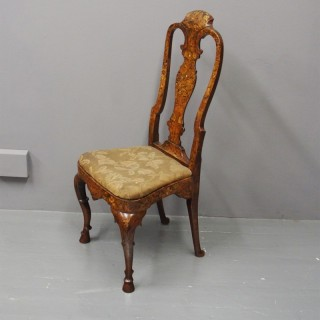 Oak Framed Dutch Marquetry Side Chair
