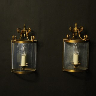 French Pair Of Gilded Convex Half lanterns
