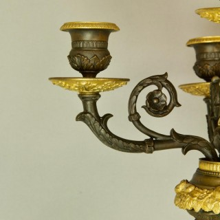 Pair of Large Empire Ormolu and Patinated Bronze Victory Sculptures Candelabras