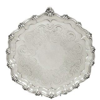 Antique Early Victorian Sterling Silver Tray / Salver 1846
