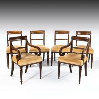 A Good Set of Regency Period 4+2 Mahogany Framed Chairs