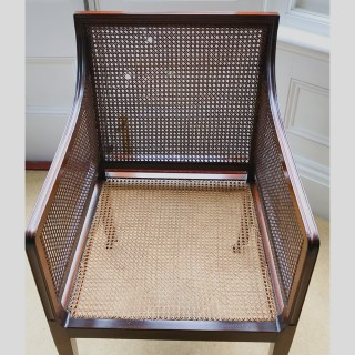 Antique Mahogany Bergere Library Armchair