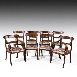 A Good Set (6+2) of Regency Period Sabre Legged Mahogany Framed Chairs