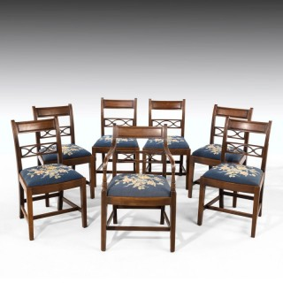 A Good Early Twentieth Century Set of Seven (6+1) Whitehaven Mahogany Framed Elbow Chairs