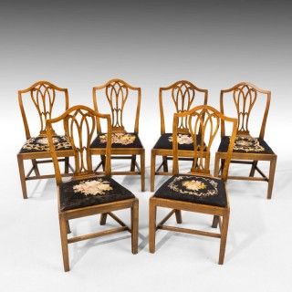 A Very Good Set of Six George III Period Hepplewhite Mahogany Framed Single Chairs